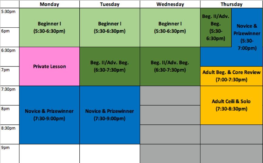 2019 Summer Weekly Schedule